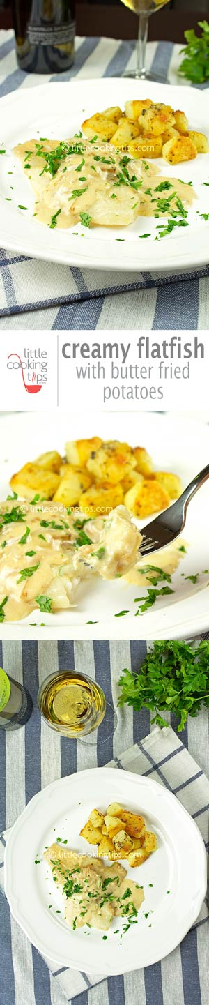 Creamy Flatfish With Boiled and Fried Potatoes