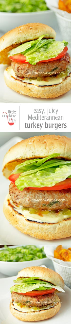 Easy, juicy Mediterranean turkey burgers