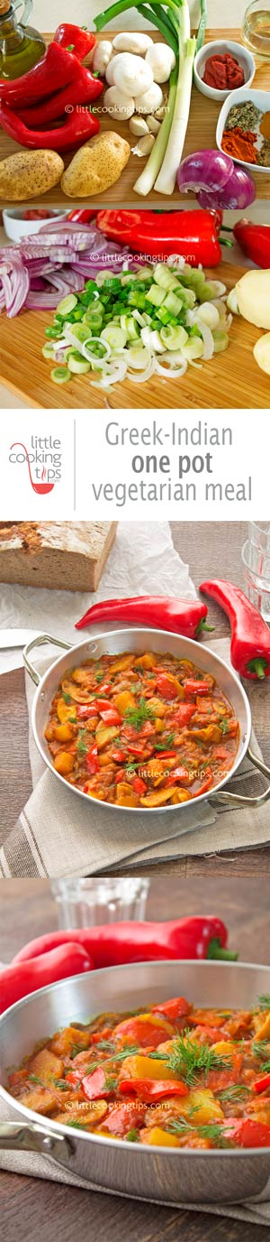 Greek-Indian one pot vegetarian meal (spring ladero)