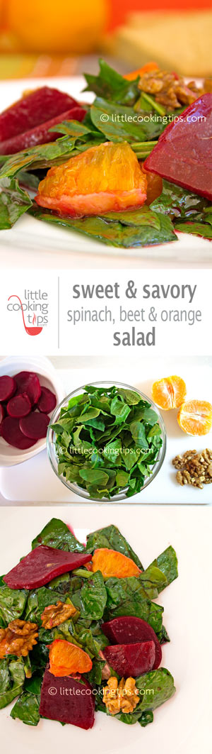 green salad with spinach, beet, orange and walnuts