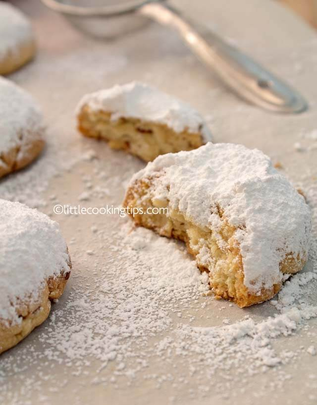 Authentic, traditional Greek Christmas snowball cookies: Kourabiedes