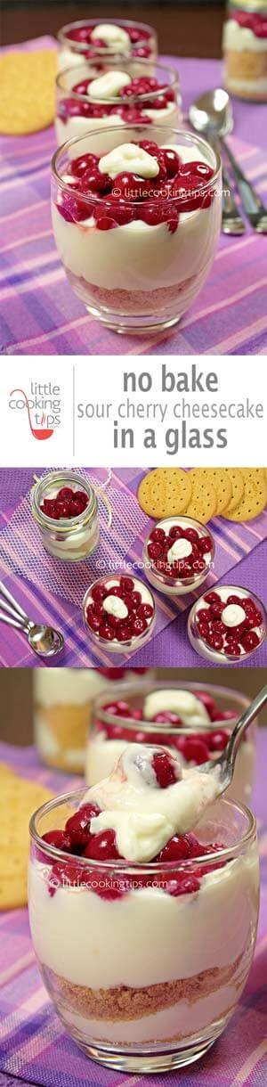 No bake sour cherry cheesecake in a glass