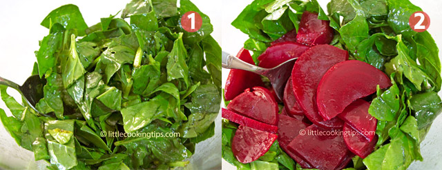 Little Cooking Tips Green salad with spinach, beet, orange and walnuts