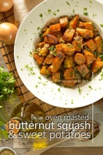 Easy Mediterranean Oven-roasted butternut squash and sweet potatoes