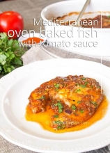 Mediterranean oven baked fish in tomato sauce and paprika