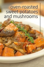One-pan Roasted Sweet Potatoes and Mushrooms with wine (vegan)