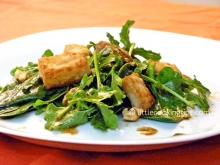 Spinach Salad with arugula, halloumi cheese and sweet balsamic sauce with mustard