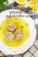 Traditional Greek Meatballs Soup in Egg-lemon sauce (Youvarlakia Avgolemono soup)