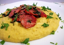Greek Fava (split pea pudding) with Sausages