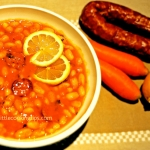 Delicious bean soup (fasolada) with spicy sausage