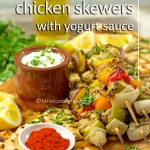 Easy Greek Lemon Chicken Skewers with Garlicky Yogurt Sauce