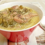 Vegeterian Magiritsa soup with mushrooms