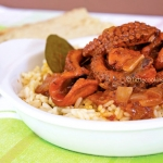 "Stewed ""baby"" octopus in tomato sauce with rice"