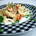 Sensational potato salad with roasted red peppers