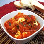 Shrimps with tomato sauce and feta (Garides saganaki)