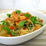 Thai shrimps with noodles and coconut milk